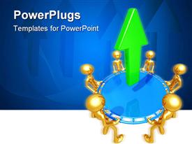 PowerPoint template displaying gold plated men join hands to lift bluecircle with green arrow