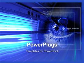 PowerPoint template displaying digital depiction of eye in blue neon, access approved for eye security cam