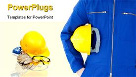 PowerPoint template displaying engineer with safety helmet in foreground with safety kit in the background
