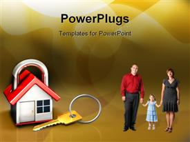 PowerPoint template displaying famiy of three with an animated house in a padlock shape