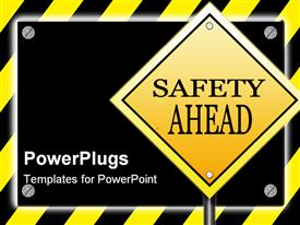 Black sign with silver screws glowing over yellow striped hazard powerpoint template