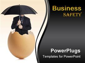 PowerPoint template displaying man in black suit holding umbrella standing in eggshell