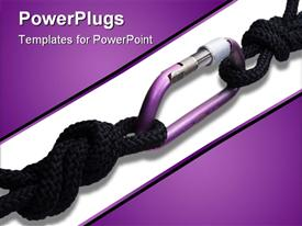 PowerPoint template displaying two black safety cords linked on a white and purple background