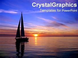 Silhouette of sailboat on ocean powerpoint template