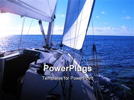 PowerPoint template displaying sailing in Atlantic Ocean