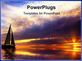 PowerPoint template displaying sun set view of a boat on a river