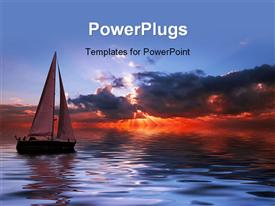 PowerPoint template displaying sun set view of a boat on an open sea