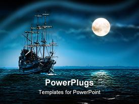PowerPoint template displaying a ship of pirates in a sea with moon shining on the side.Blue black background with mysterious atmosphere