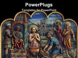 PowerPoint template displaying a number of Christianity related characters in the picture