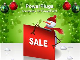 Cute Christmas snowman holding a card text can be inserted presentation background