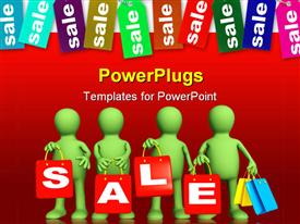 PowerPoint template displaying four puppets with red packages on sale in the background.