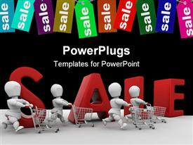 PowerPoint template displaying retail sale theme with people pushing shopping carts, e commerce