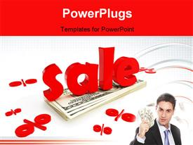 PowerPoint template displaying 3D word SALE with man holding dollar bills in hand