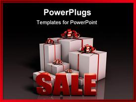 Sale Sign with Gift Boxes in 3D powerpoint design layout