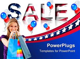 PowerPoint template displaying a girl after shopping with sale written in American flag's colors