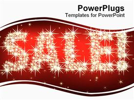 PowerPoint template displaying glittering sale and exclamation mark with stars on red and white background