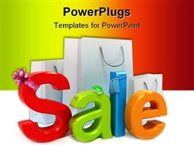 PowerPoint template displaying the word sale in a colorful manner