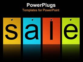 PowerPoint template displaying four colorful tiles with the test Sale on a black background