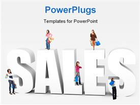 PowerPoint template displaying women with shopping items stand on 3D word SALES