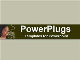 PowerPoint template displaying close-up of happy phone attendant with $ figures