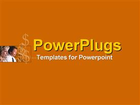 PowerPoint template displaying call operators with orange background and place for text
