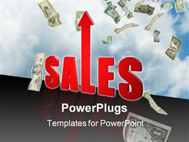PowerPoint template displaying increase in sales sky is the limit money income profit business