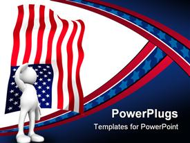 Three dimensional cartoon human figure saluting with the American flag in the background powerpoint template