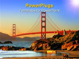 PowerPoint template displaying red steel bridge over the Pacific Ocean near San Francisco