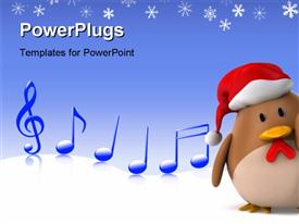 PowerPoint template displaying a cartoon character of a penguin and some musical notes