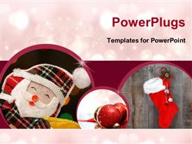 PowerPoint template displaying christmas depictions with Santa Claus cloths, ornaments and sparkling lights