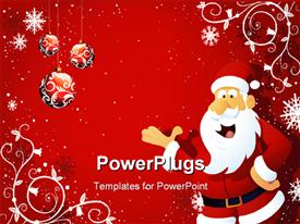 PowerPoint template displaying santa being happy with reddish background