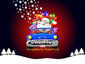 PowerPoint template displaying depiction of Santa Claus in a car in the background.