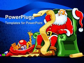 PowerPoint template displaying santa Claus sitting in green armchair with red sack of gifts