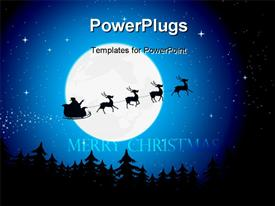 PowerPoint template displaying the travelling of imaginary Santa across the moon