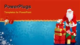 PowerPoint template displaying a Santa Clause figure holding a pile of gifts