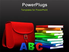 Red satchel and stack of colorful books - 3D illustration/rendering powerpoint theme