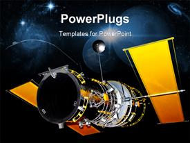 PowerPoint template displaying satellite telecommunication in progress, stars and black background