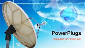 PowerPoint template displaying satellite dish antennas under blue sky