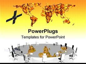 PowerPoint template displaying satellite next to world map above reflective large conference table surrounded by empty chairs