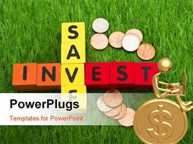 Alphabet blocks spelling save and invest with coins on grass powerpoint theme