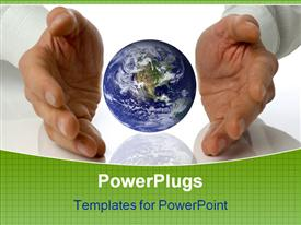 PowerPoint template displaying business men holding a earth between hands in the background.
