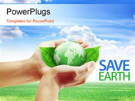 PowerPoint template displaying a person holding a green globe and bluish background
