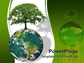 PowerPoint template displaying earth globe with tree growing on it on a white and green background