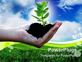 PowerPoint template displaying green plant in the women's palm with background of blue sky and clouds