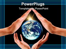PowerPoint template displaying two pairs of hands with a bright shinning globe