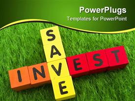 Alphabet blocks spelling save and invest - the investment puzzle template for powerpoint