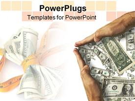 PowerPoint template displaying cutting costs metaphor with measuring tape wrapped around US dollars, hands around money bills