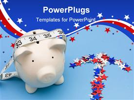 PowerPoint template displaying a large white piggy bank with multi colored starts around it