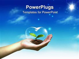 Nice decoration with hand heart and blue sky template for powerpoint