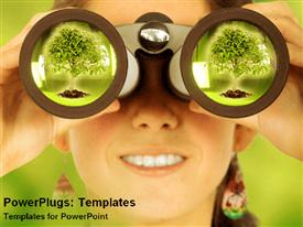 PowerPoint template displaying smiling woman holding binoculars at her eyes and big green tree reflecting in the lens